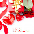Stock Photo: Valentines Hearts, Rose Flower and Gift Box isolated on white