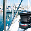 Yacht. Yachting. Sailboat Winch and Rope Yacht detail - Stock Photo
