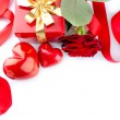 Valentines Hearts, Rose Flower and Gift Box isolated on white — Stock Photo #21975527