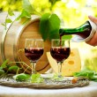 Foto Stock: Red Wine and Cheese. Romantic Lunch Outdoor