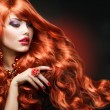 Wavy Red Hair. Fashion Girl Portrait — Stock Photo #21975719
