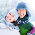 Happy Couple Having Fun Outdoors. Snow. Winter Vacation — Stock Photo #21975723