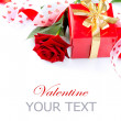 Stock Photo: Valentines Gift. Rose Flower with Ribbon isolated on white