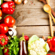 Healthy Organic Vegetables on a Wood Background - Lizenzfreies Foto
