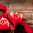 Valentines Hearts Candles over Wood. Valentine&#039;s Day - Stock Photo