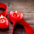 Valentines Hearts Candles over Wood. Valentine's Day - Stock Photo