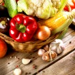 Healthy Organic Vegetables on the Wooden Background — Stock Photo