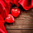 Stock Photo: Valentines Hearts Candles over Wood. Valentine's Day