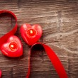 Valentines Hearts Candles over Wood. Valentine&#039;s Day - Stockfoto