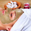 Spa Mud Mask. Woman in Spa Salo — Stock Photo #21976193