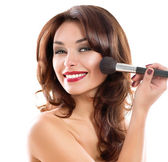 Beautiful Young Woman Applying Makeup. Brunette Girl — Stock Photo