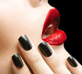 Makeup and Manicure. Black Nails and Red Lips — Stock Photo
