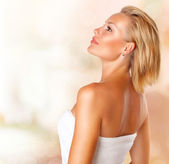 Beautiful Young Spa Woman portrait. Beauty Girl in Bath Towel — Stock Photo