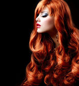 Wavy Red Hair. Fashion Girl Portrait — Stok fotoğraf