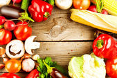 Healthy Organic Vegetables on the Wooden Background — Photo
