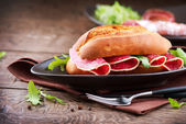 Sandwich with Salami — Stock Photo