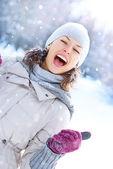 Winter Woman Outdoor. Happy Laughing Girl Having Fun — Stock Photo