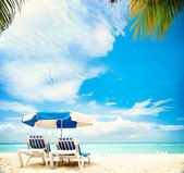 Vacation and Tourism concept. Sunbeds on the paradise beach — Stok fotoğraf