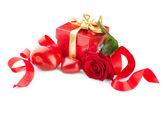 Valentines Hearts, Rose Flower and Gift Box isolated on white — Stock Photo