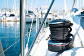 Yacht. Yachting. Sailboat Winch and Rope Yacht detail — Foto de Stock