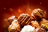Assorted Chocolate Candies. Sweets. Candy Border Design — Stock Photo