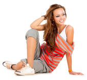 Teenage Girl on a White Background — Stock Photo