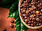 Coffee beans. Bowl of Aromatic Coffee close-up — Stock Photo