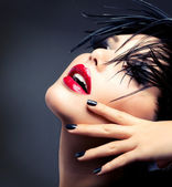 Fashion Art Girl Portrait. Vivid Makeup — Photo