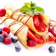 Crepes With Berries over White — Stock Photo