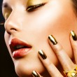 Stock Photo: Fashion Beauty. Manicure and Make-up