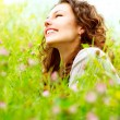 Stock Photo: Beautiful Young Woman Outdoors. Enjoy Nature. Meadow