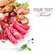 Sausage. Italian Ham, Salami and Bacon isolated on White - Stock Photo