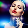 Singer Woman with Retro Microphone. Vintage Style — Stock Photo