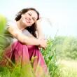 Beautiful Young Woman Outdoors. Enjoy Nature. Meadow — Stock Photo