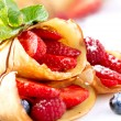 Crepes With Berries. Crepe with Strawberry, Raspberry, Blueberry - Stock Photo