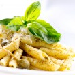 Penne Pastwith Pesto Sauce. ItaliCuisine — Stock Photo #24593217