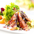 Stock Photo: Salad With Smoked Eel with Unagi Sauce