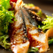 Salad With Smoked Eel with Unagi Sauce — Stock Photo