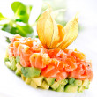 Salmon Tartar over White Background - Stock Photo