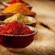 Spices Curry, Saffron, Turmeric — Stock Photo