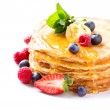 Pancake with Berries. Pancakes Stack over White — Stockfoto