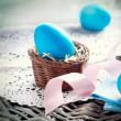 Easter. Painted Eggs. Easter Egg in the Basket  — Stock Photo