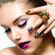 Stock Photo: Fashion Beauty. Manicure and Make-up. Nail Art
