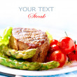 Grilled Beef Steak Meat with Fried Potato, Asparagus, Tomatoes — Stock Photo #24593561