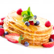 Pancake with Berries. Pancakes Stack over White — Stock Photo #24593577