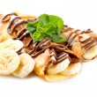 Stock Photo: Crepes With BananAnd Chocolate
