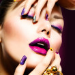 Fashion Beauty. Manicure and Make-up. Nail Art — Stock Photo