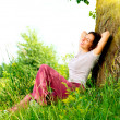Beautiful Young Woman Relaxing outdoors. Nature — Stock Photo
