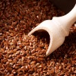 Flax seeds, Linseed, Lin seeds close-up - Stock Photo