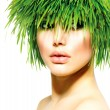 Beauty Spring Woman with Fresh Green Grass Hair. Summer Nature — Stok fotoğraf